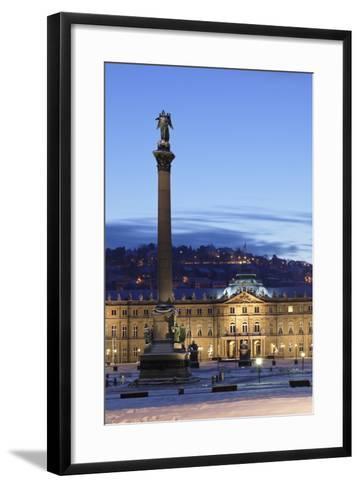 Column at Schlossplatz Square and Neues Schloss Castle-Markus Lange-Framed Art Print