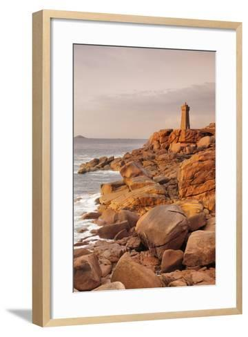 Lighthouse of Meen Ruz, Ploumanach, Cote De Granit Rose, Cotes D'Armor, Brittany, France, Europe-Markus Lange-Framed Art Print