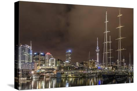 Night View of the City of Auckland from Auckland Harbour, North Island, New Zealand, Pacific-Michael Nolan-Stretched Canvas Print