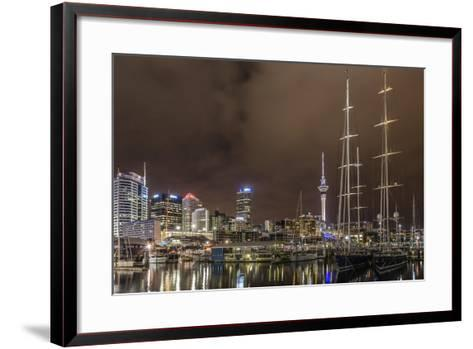 Night View of the City of Auckland from Auckland Harbour, North Island, New Zealand, Pacific-Michael Nolan-Framed Art Print