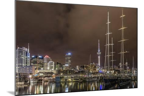 Night View of the City of Auckland from Auckland Harbour, North Island, New Zealand, Pacific-Michael Nolan-Mounted Photographic Print