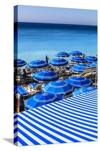 Beach Parasols, Nice, Alpes Maritimes, Provence, Cote D'Azur, French Riviera, France, Europe-Amanda Hall-Stretched Canvas Print