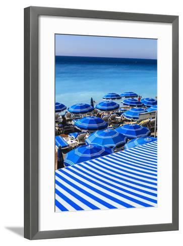Beach Parasols, Nice, Alpes Maritimes, Provence, Cote D'Azur, French Riviera, France, Europe-Amanda Hall-Framed Art Print