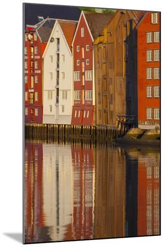 Old Fishing Warehouses Reflected in the River Nidelva-Doug Pearson-Mounted Photographic Print