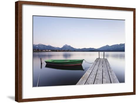 Rowing Boat on Hopfensee Lake at Sunset, Near Fussen, Allgau, Allgau Alps, Bavaria, Germany, Europe-Markus Lange-Framed Art Print