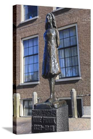 Statue of Anne Frank Outside Westerkerk, Near Her House, Amsterdam, Netherlands, Europe-Amanda Hall-Stretched Canvas Print