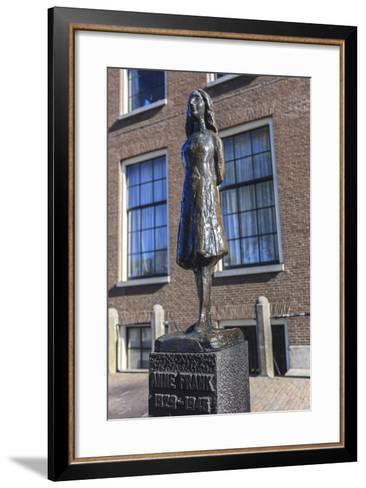 Statue of Anne Frank Outside Westerkerk, Near Her House, Amsterdam, Netherlands, Europe-Amanda Hall-Framed Art Print