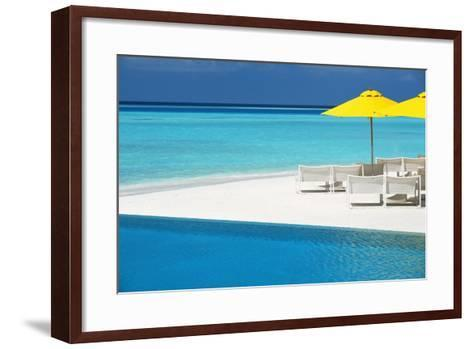 Infinity Pool and Lounge Chairs, Maldives, Indian Ocean, Asia-Sakis Papadopoulos-Framed Art Print