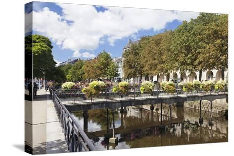 The River Odet and a Flower Decorated Bridge, Quimper, Finistere, Brittany, France, Europe-Markus Lange-Stretched Canvas Print