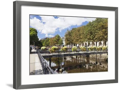 The River Odet and a Flower Decorated Bridge, Quimper, Finistere, Brittany, France, Europe-Markus Lange-Framed Art Print