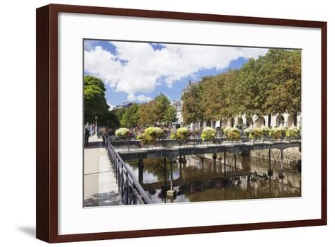 The River Odet and a Flower Decorated Bridge, Quimper, Finistere, Brittany, France, Europe-Markus Lange-Framed Art Print