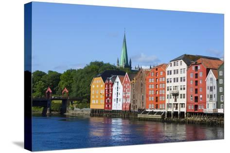 Nidaros Cathedral, Old Fishing Warehouses and Gamle Bybro, Trondheim-Doug Pearson-Stretched Canvas Print