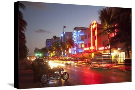 Ocean Drive, South Beach, Art Deco District-Angelo Cavalli-Stretched Canvas Print