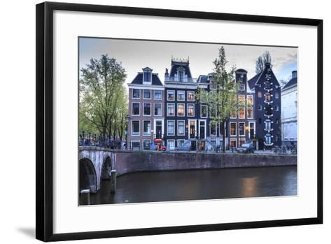 Old Gabled Houses Line the Keizersgracht Canal at Dusk, Amsterdam, Netherlands, Europe-Amanda Hall-Framed Art Print