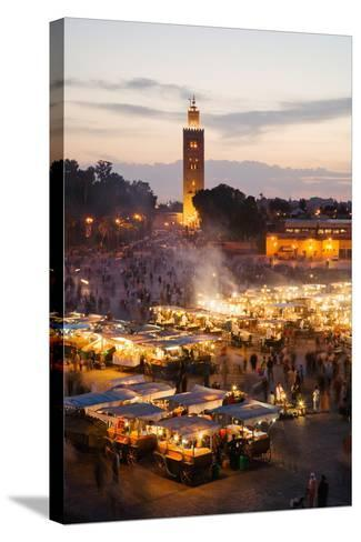 Elevated View of the Koutoubia Mosque at Dusk from Djemaa El-Fna-Gavin Hellier-Stretched Canvas Print
