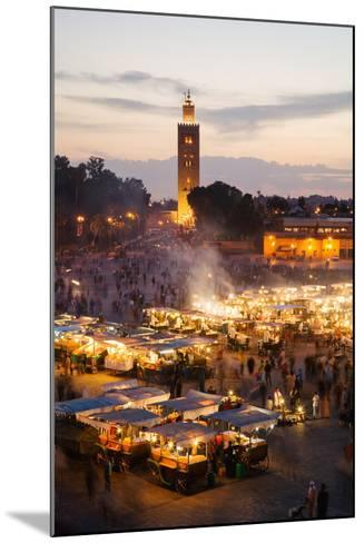 Elevated View of the Koutoubia Mosque at Dusk from Djemaa El-Fna-Gavin Hellier-Mounted Photographic Print