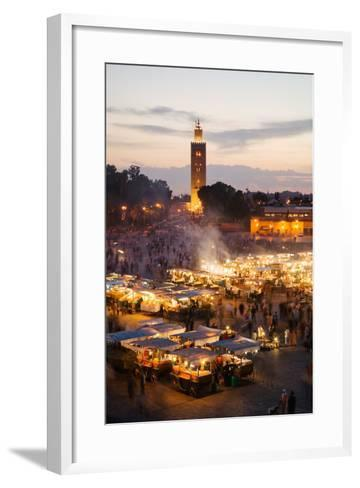 Elevated View of the Koutoubia Mosque at Dusk from Djemaa El-Fna-Gavin Hellier-Framed Art Print