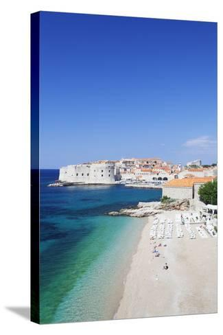 Banje Beach, Old Harbour and Old Town, UNESCO World Heritage Site-Markus Lange-Stretched Canvas Print