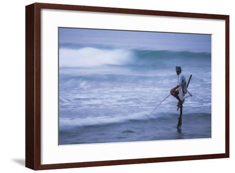 Stilt Fishing, a Stilt Fisherman in the Waves at Midigama Near Weligama, South Coast-Matthew Williams-Ellis-Framed Art Print