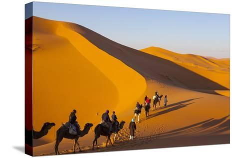 Tourists on Camel Safari, Sahara Desert, Merzouga, Morocco, North Africa, Africa-Doug Pearson-Stretched Canvas Print