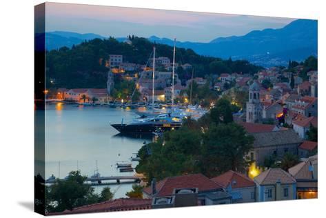 View over Old Town at Dusk, Cavtat, Dubrovnik Riviera, Dalmatian Coast, Dalmatia, Croatia, Europe-Frank Fell-Stretched Canvas Print