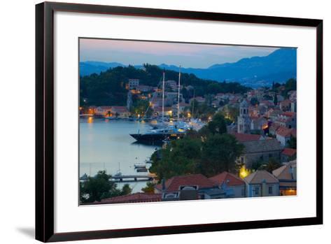 View over Old Town at Dusk, Cavtat, Dubrovnik Riviera, Dalmatian Coast, Dalmatia, Croatia, Europe-Frank Fell-Framed Art Print