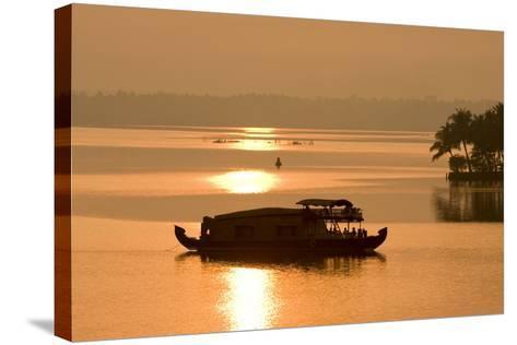 Houseboat at Dusk in Ashtamudi Lake, Kollam, Kerala, India, Asia-Balan Madhavan-Stretched Canvas Print