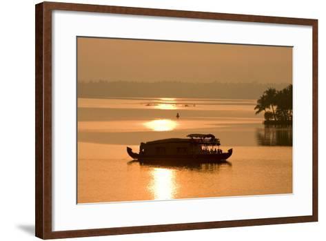 Houseboat at Dusk in Ashtamudi Lake, Kollam, Kerala, India, Asia-Balan Madhavan-Framed Art Print