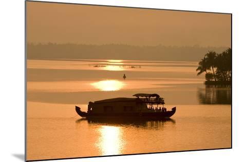 Houseboat at Dusk in Ashtamudi Lake, Kollam, Kerala, India, Asia-Balan Madhavan-Mounted Photographic Print