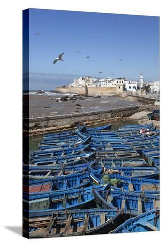 View over the Fishing Harbour to the Ramparts and Medina-Stuart Black-Stretched Canvas Print