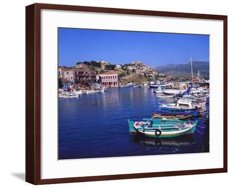 Sailboats Moored at Molyvos Harbour, Lesvos, Greece-Jeremy Lightfoot-Framed Art Print