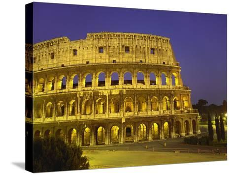 Colosseum at Night, Rome, Italy-Roy Rainford-Stretched Canvas Print