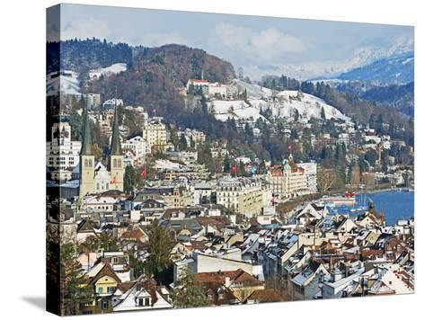 Lucerne on Lake Lucerne, Lucerne, Switzerland, Europe-Christian Kober-Stretched Canvas Print