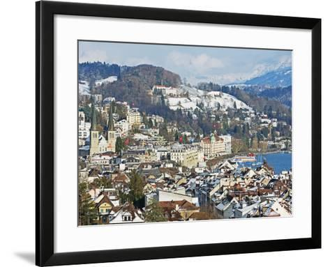 Lucerne on Lake Lucerne, Lucerne, Switzerland, Europe-Christian Kober-Framed Art Print