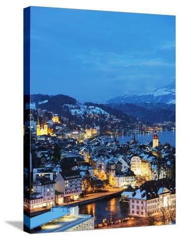 Lucerne on Lake Lucerne, Lucerne, Switzerland, Europe-Christian Kober-Stretched Canvas Print