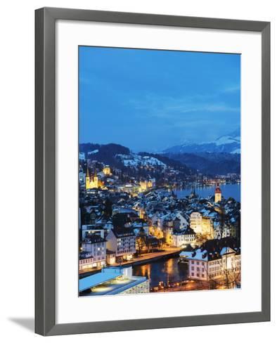 Lucerne on Lake Lucerne, Lucerne, Switzerland, Europe-Christian Kober-Framed Art Print