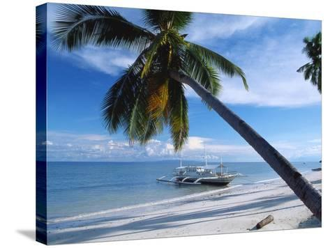 Outrigger Motorboat Moored on Alona Beach, Panglao, Bohol, Philippines-Jack Jackson-Stretched Canvas Print