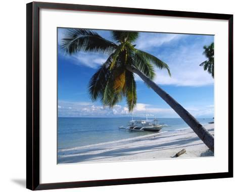 Outrigger Motorboat Moored on Alona Beach, Panglao, Bohol, Philippines-Jack Jackson-Framed Art Print