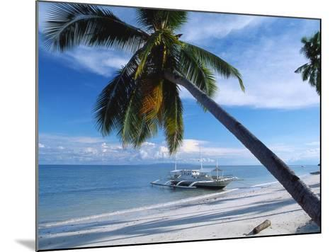 Outrigger Motorboat Moored on Alona Beach, Panglao, Bohol, Philippines-Jack Jackson-Mounted Photographic Print