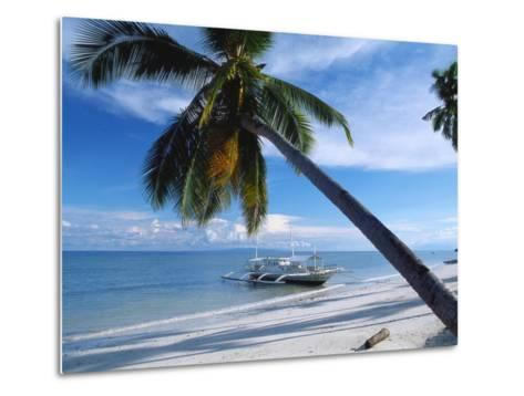 Outrigger Motorboat Moored on Alona Beach, Panglao, Bohol, Philippines-Jack Jackson-Metal Print