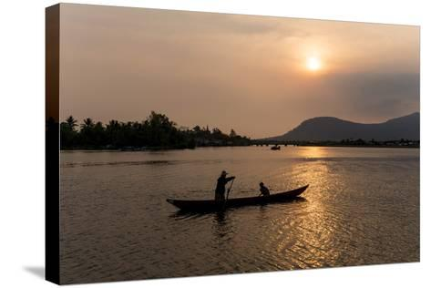 Father and Son Fishing on Kampong Bay River at Sunset-Ben Pipe-Stretched Canvas Print