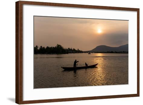 Father and Son Fishing on Kampong Bay River at Sunset-Ben Pipe-Framed Art Print