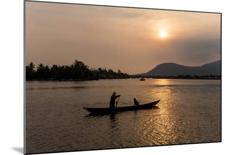 Father and Son Fishing on Kampong Bay River at Sunset-Ben Pipe-Mounted Photographic Print