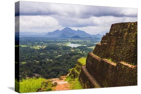 Ruins of King Kassapa's Palace in Front of the View from of Sigiriya Rock Fortress (Lion Rock)-Matthew Williams-Ellis-Stretched Canvas Print