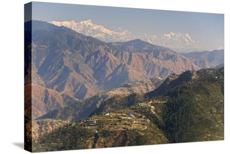 Gangotri Mountains, Garwhal Himalaya, Seen from Mussoorie Hill Station, Uttarakhand, India, Asia-Tony Waltham-Stretched Canvas Print