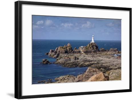 Corbiere Lighthouse and Rocky Coastline, Jersey, Channel Islands, United Kingdom, Europe-Roy Rainford-Framed Art Print
