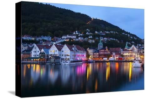 Bergen's Picturesque Bryggen District Illuminated at Dusk-Doug Pearson-Stretched Canvas Print