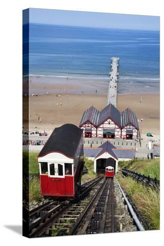 Cliff Tramway and the Pier at Saltburn by the Sea-Mark Sunderland-Stretched Canvas Print