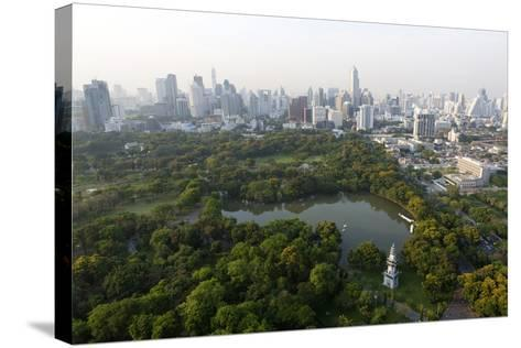 City Skyline with Lumphini Park-Lee Frost-Stretched Canvas Print