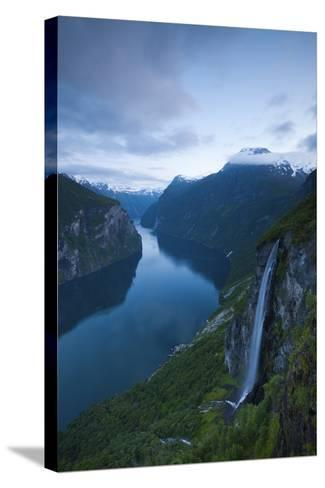 The Dramatic Geiranger Fjord Illuminated at Dusk-Doug Pearson-Stretched Canvas Print